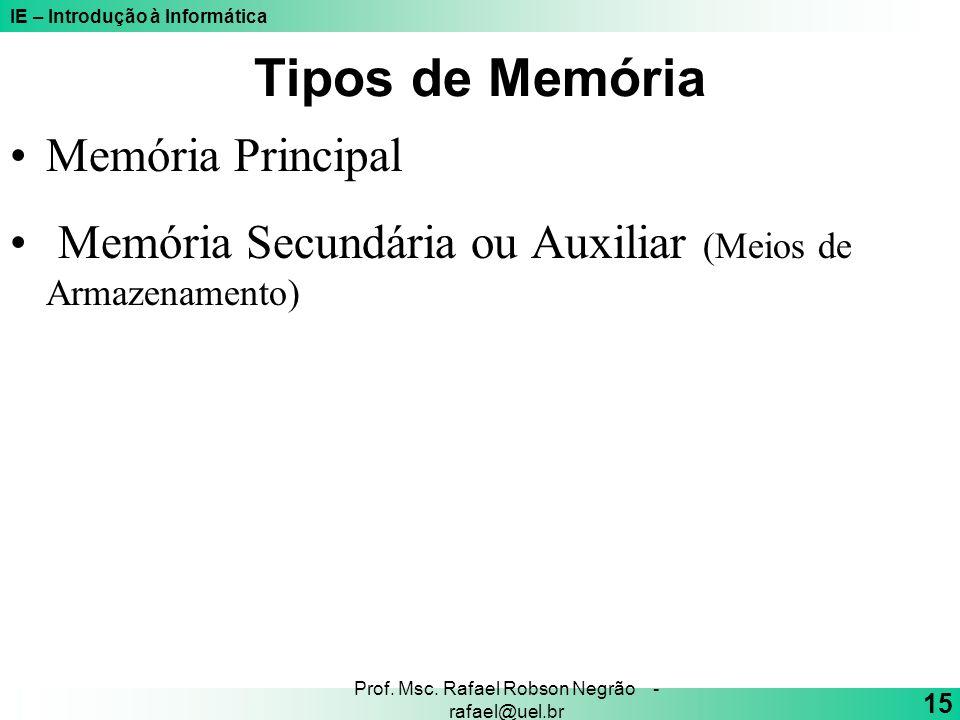 IE – Introdução à Informática 15 Prof. Msc. Rafael Robson Negrão - rafael@uel.br Tipos de Memória Memória Principal Memória Secundária ou Auxiliar (Me