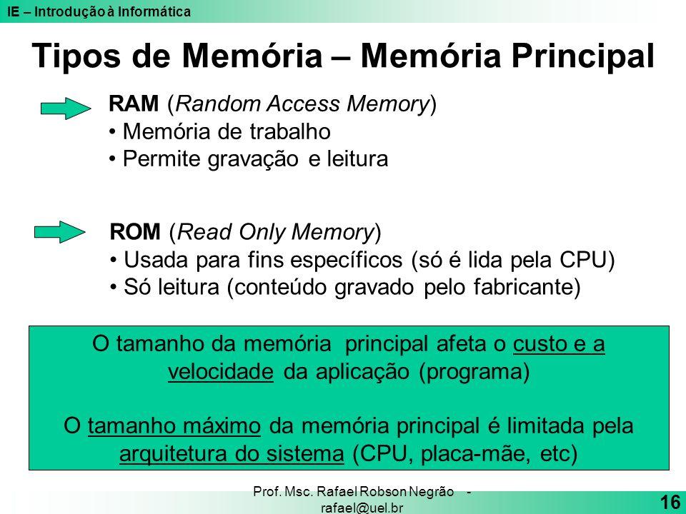 IE – Introdução à Informática 16 Prof. Msc. Rafael Robson Negrão - rafael@uel.br RAM (Random Access Memory) Memória de trabalho Permite gravação e lei