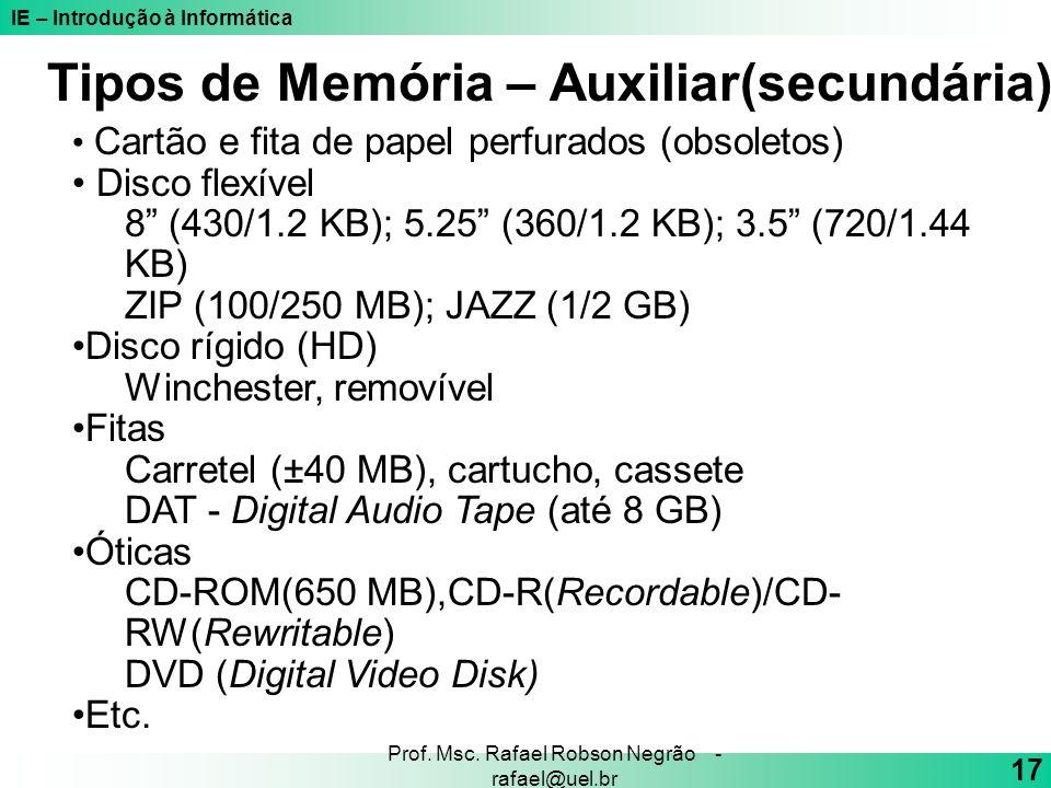 IE – Introdução à Informática 17 Prof. Msc. Rafael Robson Negrão - rafael@uel.br Cartão e fita de papel perfurados (obsoletos) Disco flexível 8 (430/1