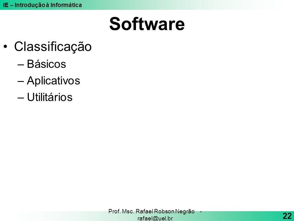 IE – Introdução à Informática 22 Prof. Msc. Rafael Robson Negrão - rafael@uel.br Software Classificação –Básicos –Aplicativos –Utilitários