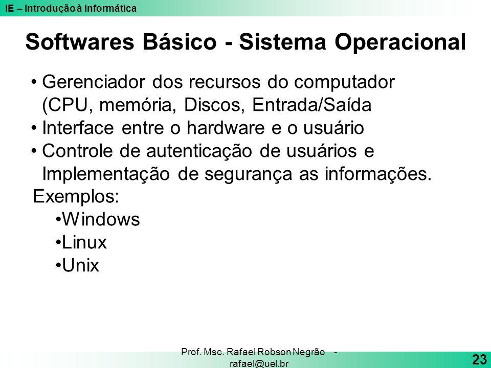 IE – Introdução à Informática 23 Prof. Msc. Rafael Robson Negrão - rafael@uel.br Softwares Básico - Sistema Operacional Gerenciador dos recursos do co