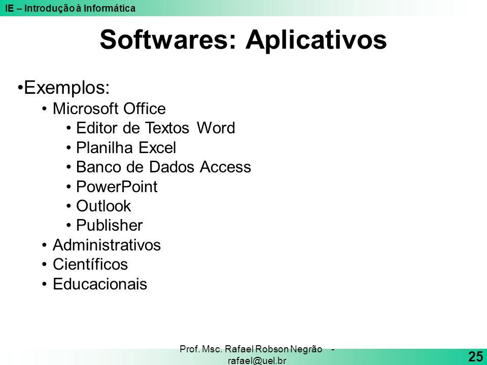 IE – Introdução à Informática 25 Prof. Msc. Rafael Robson Negrão - rafael@uel.br Exemplos: Microsoft Office Editor de Textos Word Planilha Excel Banco