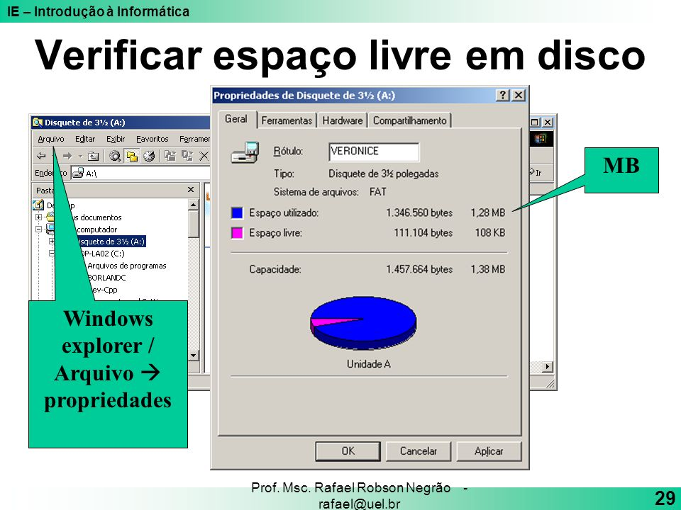 IE – Introdução à Informática 29 Prof. Msc. Rafael Robson Negrão - rafael@uel.br Verificar espaço livre em disco Windows explorer / Arquivo propriedad