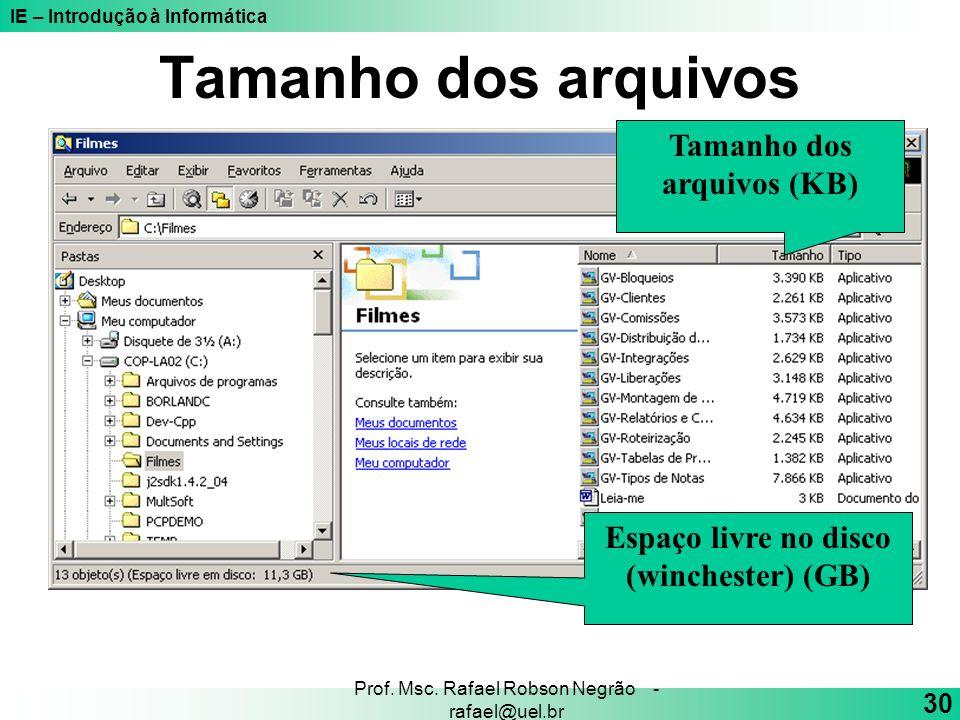 IE – Introdução à Informática 30 Prof. Msc. Rafael Robson Negrão - rafael@uel.br Tamanho dos arquivos Tamanho dos arquivos (KB) Espaço livre no disco