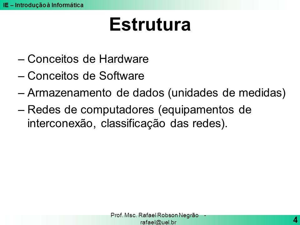 IE – Introdução à Informática 4 Prof. Msc. Rafael Robson Negrão - rafael@uel.br Estrutura –Conceitos de Hardware –Conceitos de Software –Armazenamento