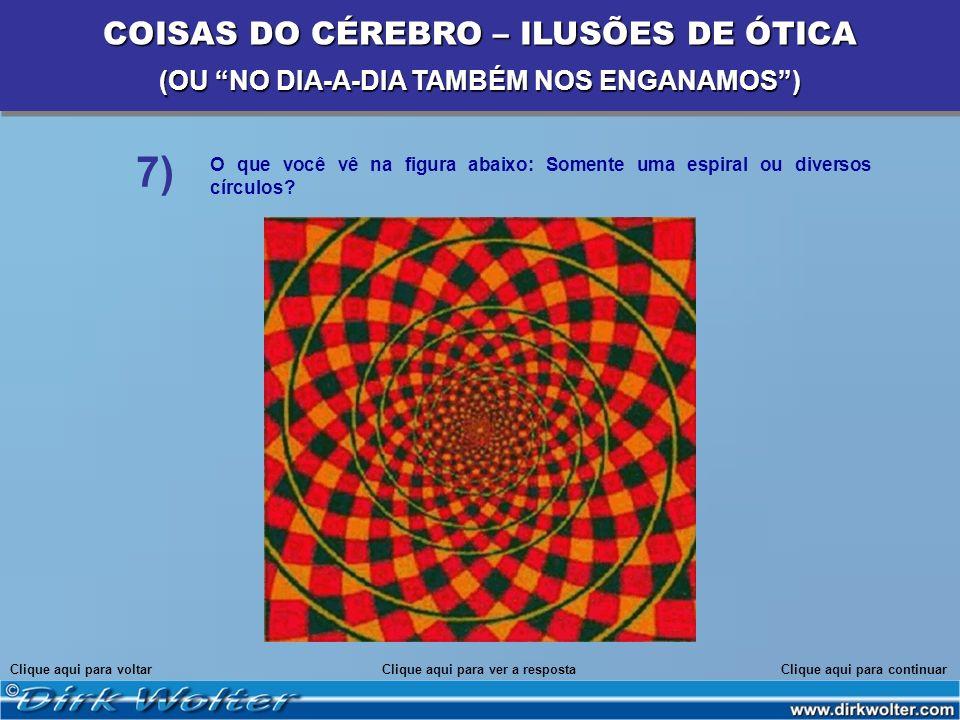 O que você vê na figura abaixo: Somente uma espiral ou diversos círculos? Clique aqui para voltarClique aqui para continuarClique aqui para ver a resp