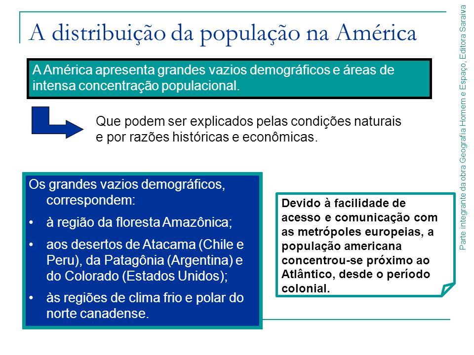 Parte integrante da obra Geografia Homem e Espaço, Editora Saraiva A distribuição da população na América Os grandes vazios demográficos, correspondem