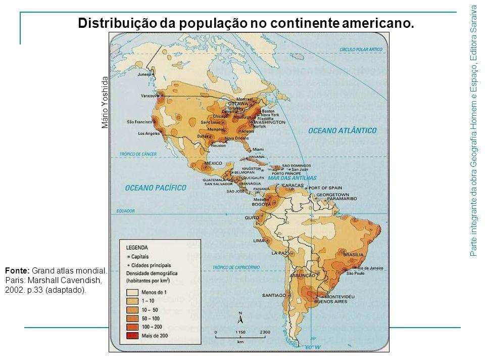 Parte integrante da obra Geografia Homem e Espaço, Editora Saraiva Distribuição da população no continente americano. Mário Yoshida Fonte: Grand atlas
