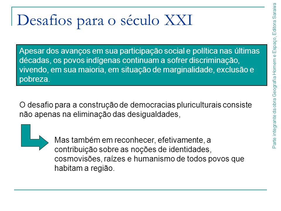 Parte integrante da obra Geografia Homem e Espaço, Editora Saraiva Desafios para o século XXI Apesar dos avanços em sua participação social e política