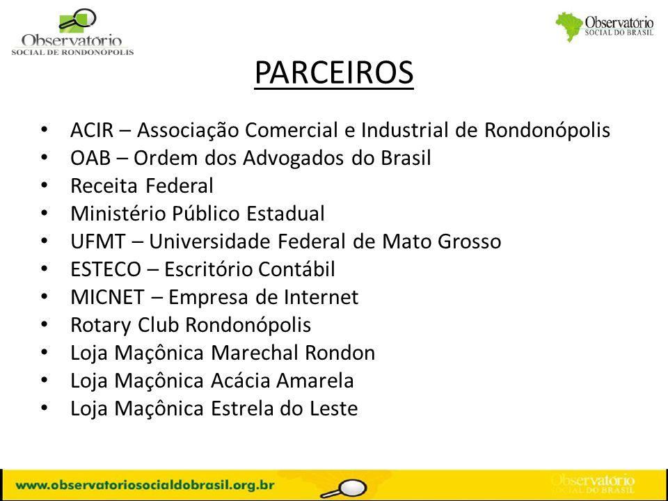 PARCEIROS ACIR – Associação Comercial e Industrial de Rondonópolis OAB – Ordem dos Advogados do Brasil Receita Federal Ministério Público Estadual UFM