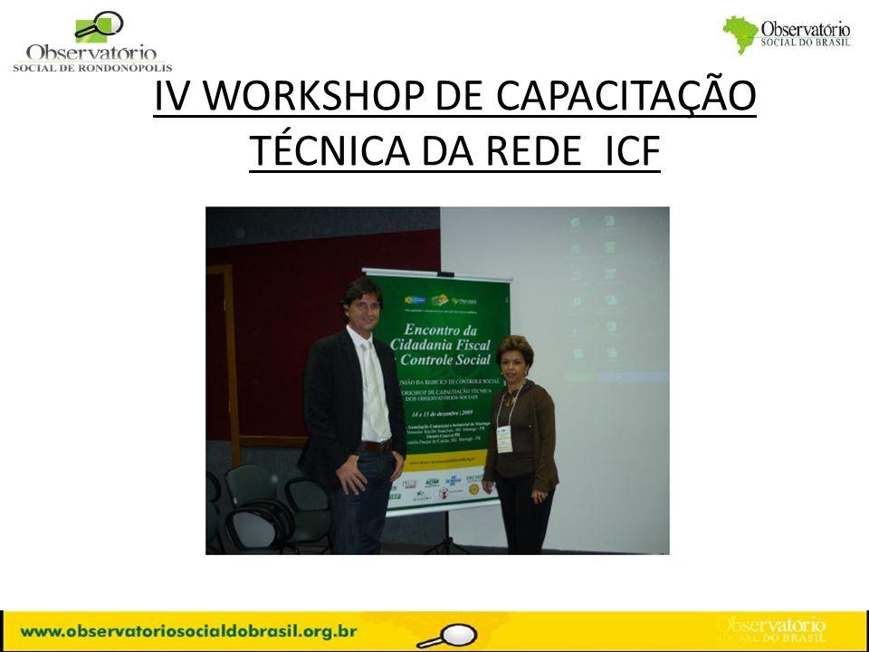 IV WORKSHOP DE CAPACITAÇÃO TÉCNICA DA REDE ICF