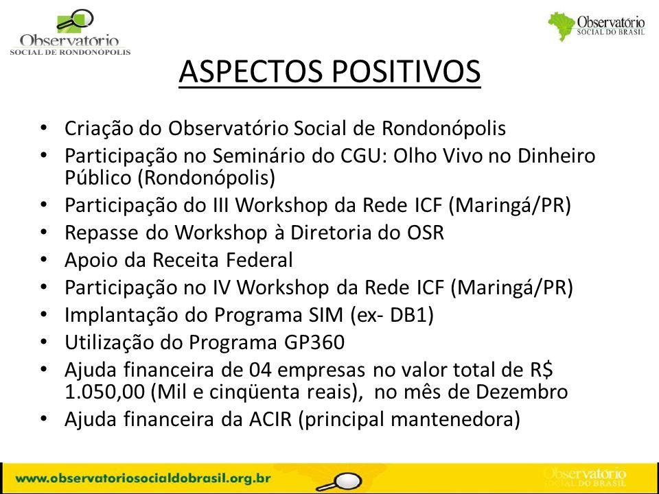 ASPECTOS POSITIVOS Criação do Observatório Social de Rondonópolis Participação no Seminário do CGU: Olho Vivo no Dinheiro Público (Rondonópolis) Parti