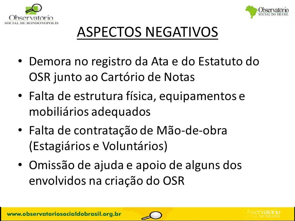 ASPECTOS NEGATIVOS Demora no registro da Ata e do Estatuto do OSR junto ao Cartório de Notas Falta de estrutura física, equipamentos e mobiliários ade