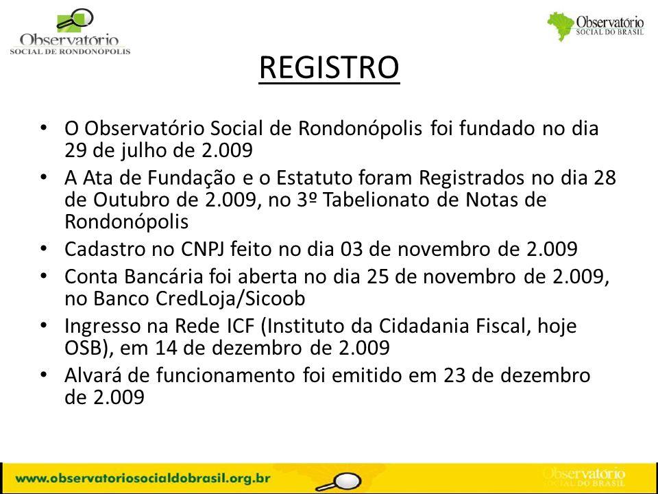 REGISTRO O Observatório Social de Rondonópolis foi fundado no dia 29 de julho de 2.009 A Ata de Fundação e o Estatuto foram Registrados no dia 28 de O