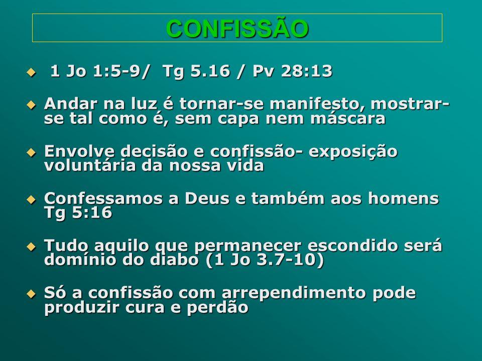 CONFISSÃO 1 Jo 1:5-9/ Tg 5.16 / Pv 28:13 1 Jo 1:5-9/ Tg 5.16 / Pv 28:13 Andar na luz é tornar-se manifesto, mostrar- se tal como é, sem capa nem másca