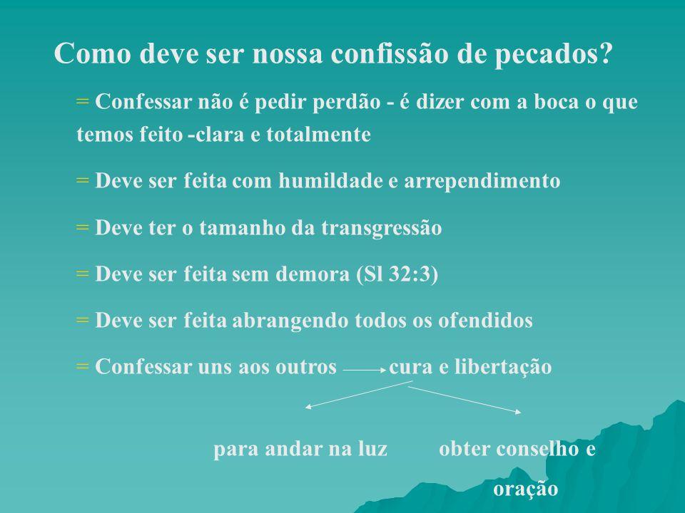 Como deve ser nossa confissão de pecados? = Confessar não é pedir perdão - é dizer com a boca o que temos feito -clara e totalmente = Deve ser feita c