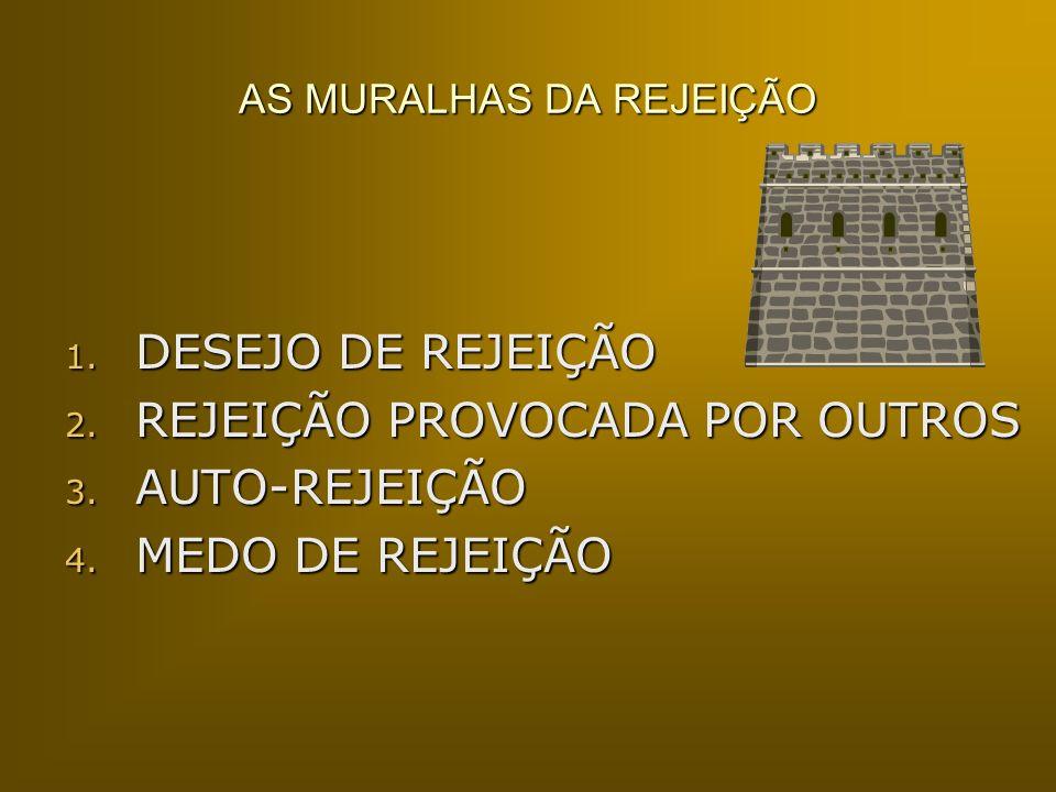 AS MURALHAS DA REJEIÇÃO 1. DESEJO DE REJEIÇÃO 2. REJEIÇÃO PROVOCADA POR OUTROS 3. AUTO-REJEIÇÃO 4. MEDO DE REJEIÇÃO