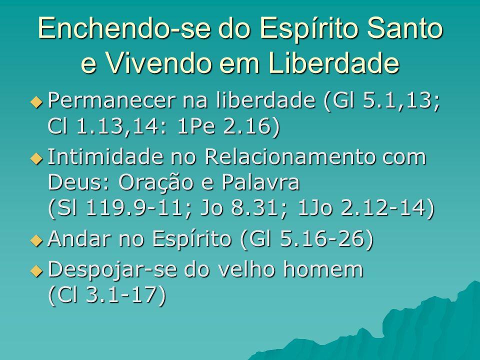 Enchendo-se do Espírito Santo e Vivendo em Liberdade Permanecer na liberdade (Gl 5.1,13; Cl 1.13,14: 1Pe 2.16) Permanecer na liberdade (Gl 5.1,13; Cl