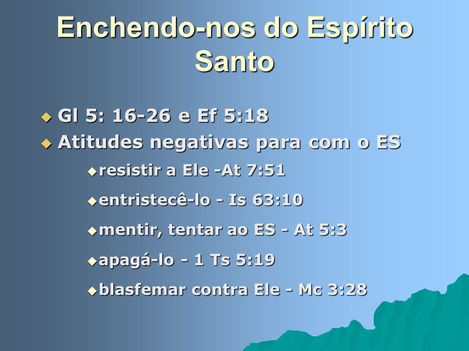 Enchendo-nos do Espírito Santo Gl 5: 16-26 e Ef 5:18 Gl 5: 16-26 e Ef 5:18 Atitudes negativas para com o ES Atitudes negativas para com o ES resistir