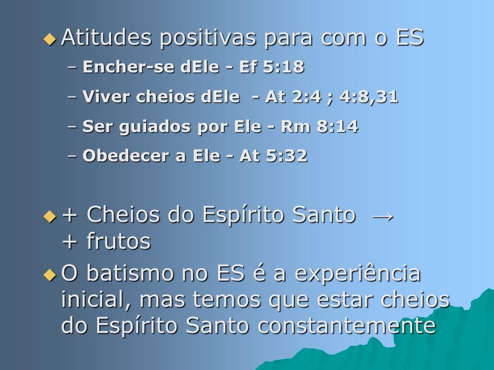 Atitudes positivas para com o ES Atitudes positivas para com o ES –Encher-se dEle - Ef 5:18 –Viver cheios dEle - At 2:4 ; 4:8,31 –Ser guiados por Ele