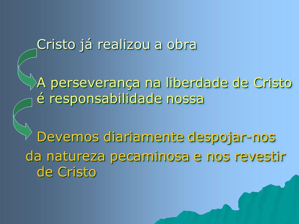 Cristo já realizou a obra A perseverança na liberdade de Cristo é responsabilidade nossa Devemos diariamente despojar-nos da natureza pecaminosa e nos