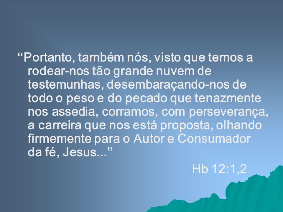 Portanto, também nós, visto que temos a rodear-nos tão grande nuvem de testemunhas, desembaraçando-nos de todo o peso e do pecado que tenazmente nos a