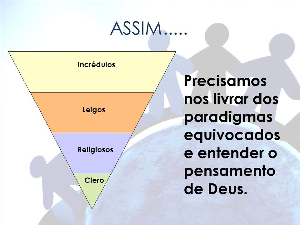 ASSIM..... Precisamos nos livrar dos paradigmas equivocados e entender o pensamento de Deus. Clero Religiosos Leigos Incrédulos
