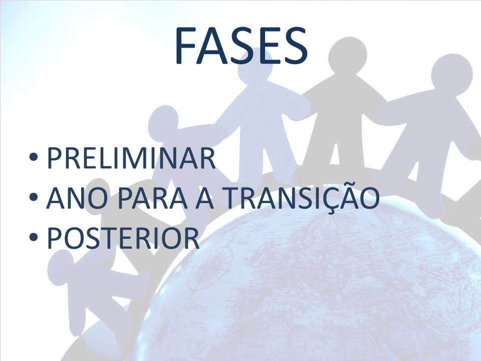 FASES PRELIMINAR ANO PARA A TRANSIÇÃO POSTERIOR