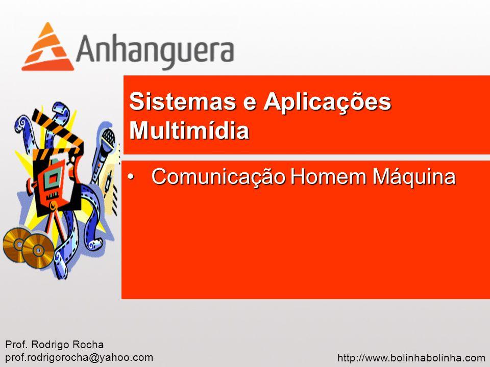 Prof. Rodrigo Rocha prof.rodrigorocha@yahoo.com http://www.bolinhabolinha.com Sistemas e Aplicações Multimídia Comunicação Homem MáquinaComunicação Ho