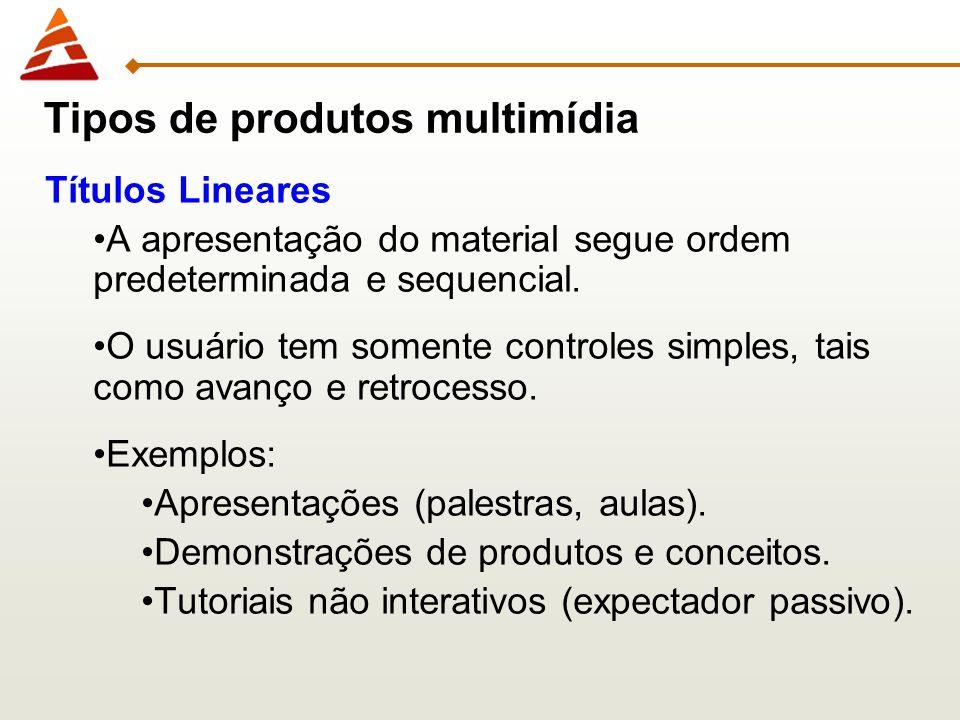 Títulos Lineares A apresentação do material segue ordem predeterminada e sequencial. O usuário tem somente controles simples, tais como avanço e retro