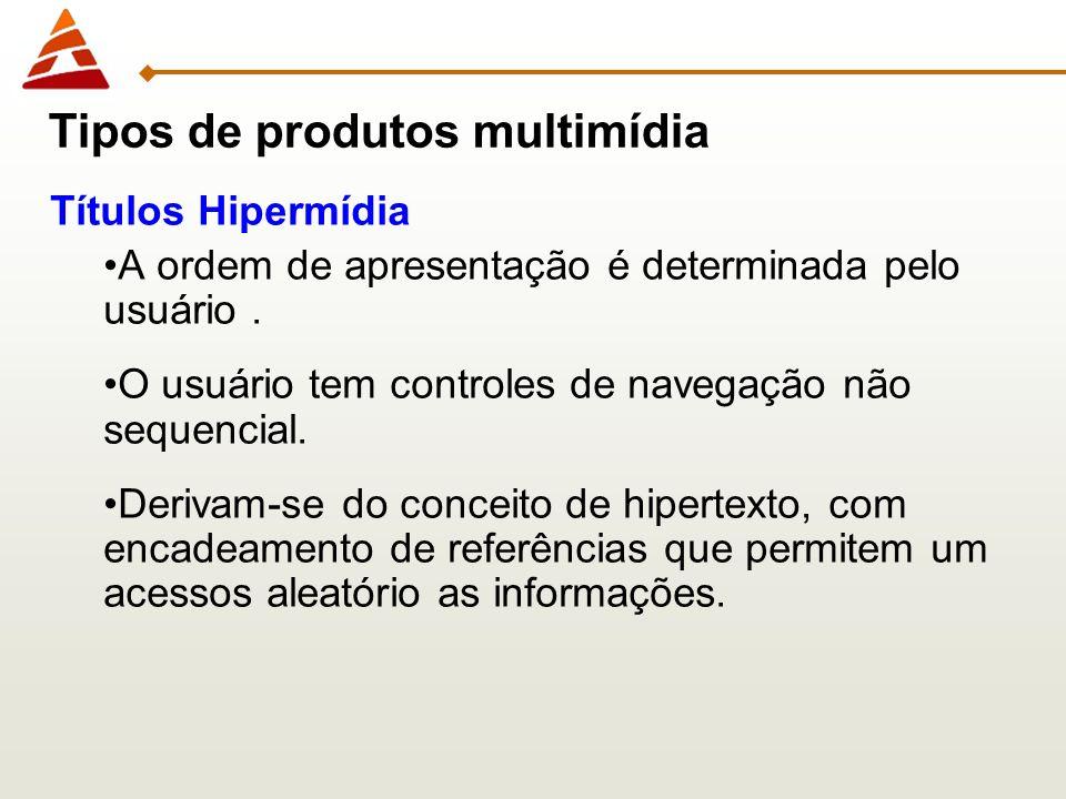Títulos Hipermídia A ordem de apresentação é determinada pelo usuário. O usuário tem controles de navegação não sequencial. Derivam-se do conceito de