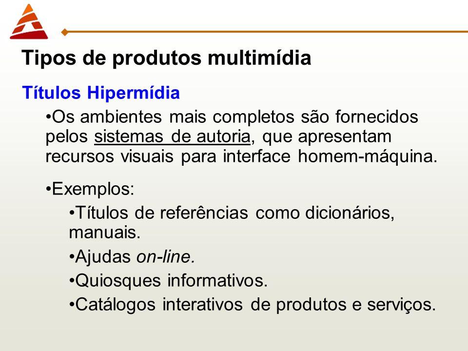 Títulos Hipermídia Os ambientes mais completos são fornecidos pelos sistemas de autoria, que apresentam recursos visuais para interface homem-máquina.