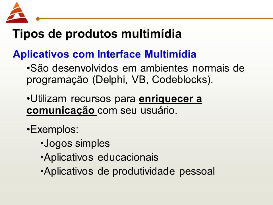 Aplicativos com Interface Multimídia São desenvolvidos em ambientes normais de programação (Delphi, VB, Codeblocks). Utilizam recursos para enriquecer