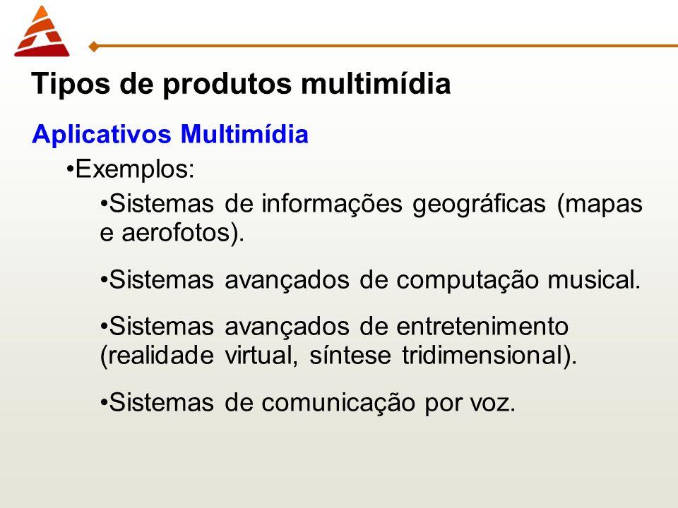 Aplicativos Multimídia Exemplos: Sistemas de informações geográficas (mapas e aerofotos). Sistemas avançados de computação musical. Sistemas avançados