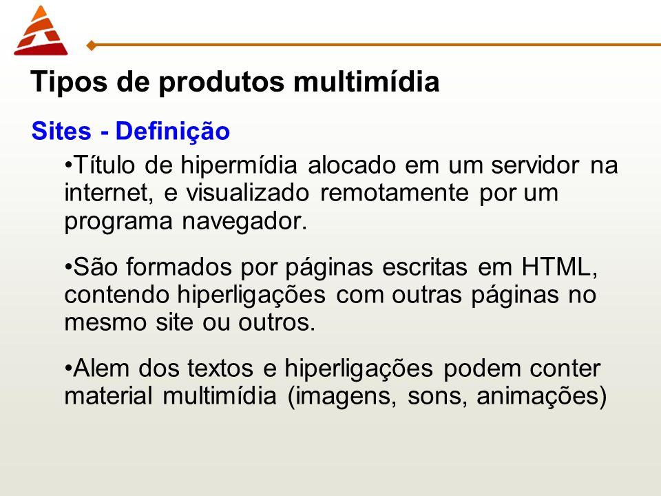 Sites - Definição Título de hipermídia alocado em um servidor na internet, e visualizado remotamente por um programa navegador. São formados por págin