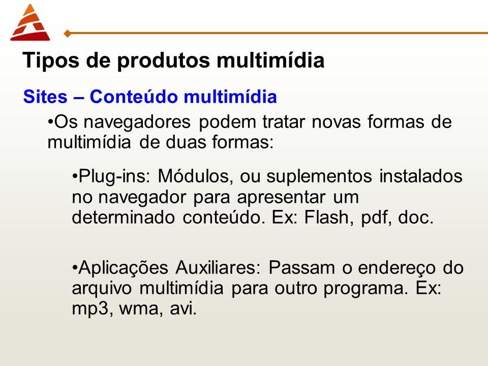 Sites – Conteúdo multimídia Os navegadores podem tratar novas formas de multimídia de duas formas: Plug-ins: Módulos, ou suplementos instalados no nav