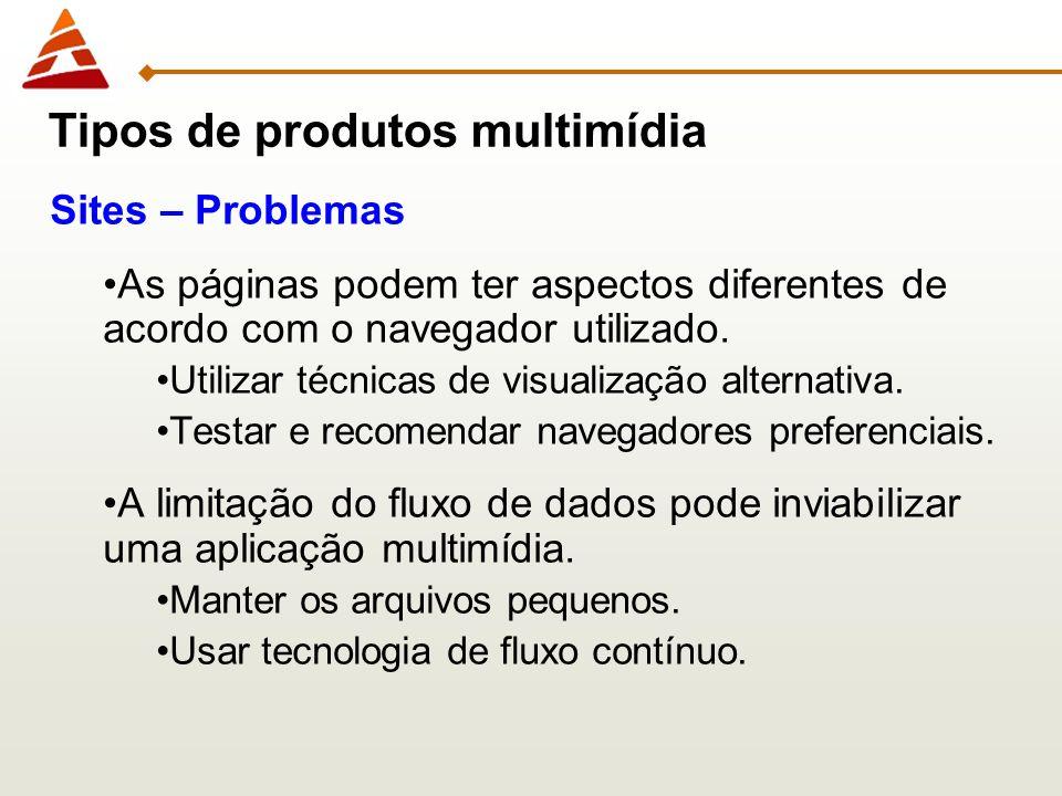 Sites – Problemas As páginas podem ter aspectos diferentes de acordo com o navegador utilizado. Utilizar técnicas de visualização alternativa. Testar