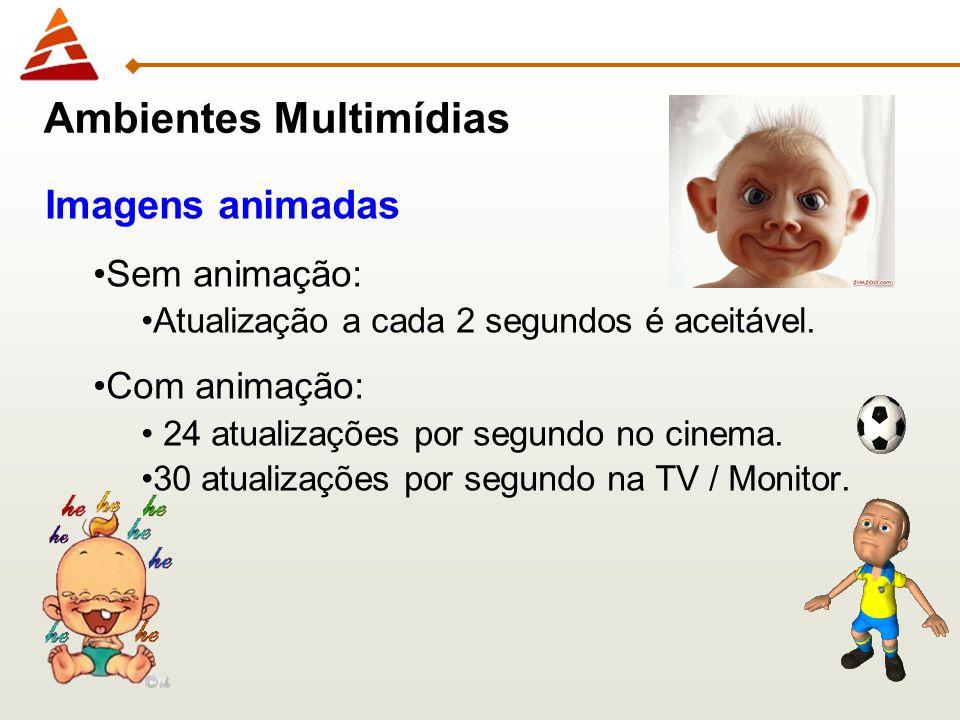 7 Ambientes Multimídias Imagens animadas Sem animação: Atualização a cada 2 segundos é aceitável. Com animação: 24 atualizações por segundo no cinema.