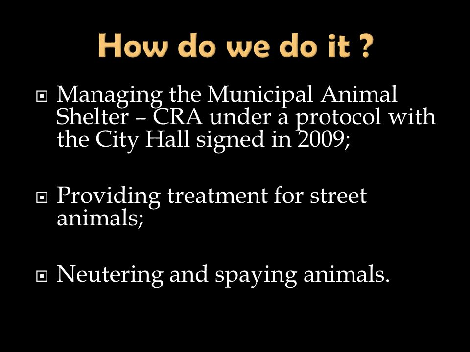 Managing the Municipal Animal Shelter – CRA under a protocol with the City Hall signed in 2009; Providing treatment for street animals; Neutering and