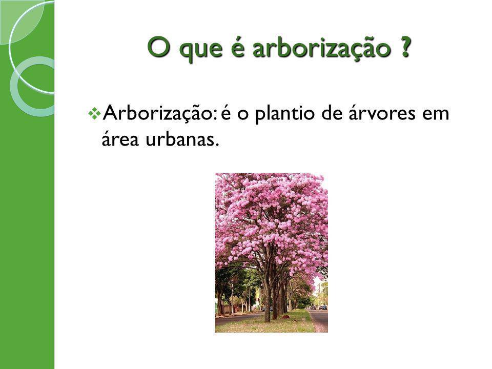 O que é arborização ? Arborização: é o plantio de árvores em área urbanas.