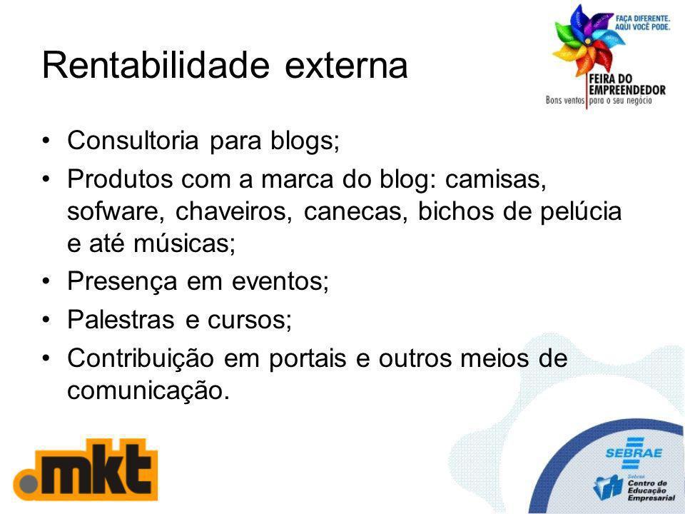 Rentabilidade externa Consultoria para blogs; Produtos com a marca do blog: camisas, sofware, chaveiros, canecas, bichos de pelúcia e até músicas; Pre