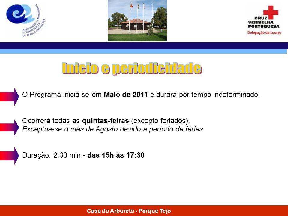 Casa do Arboreto - Parque Tejo Maio de 2011 O Programa inicia-se em Maio de 2011 e durará por tempo indeterminado. quintas-feiras Ocorrerá todas as qu