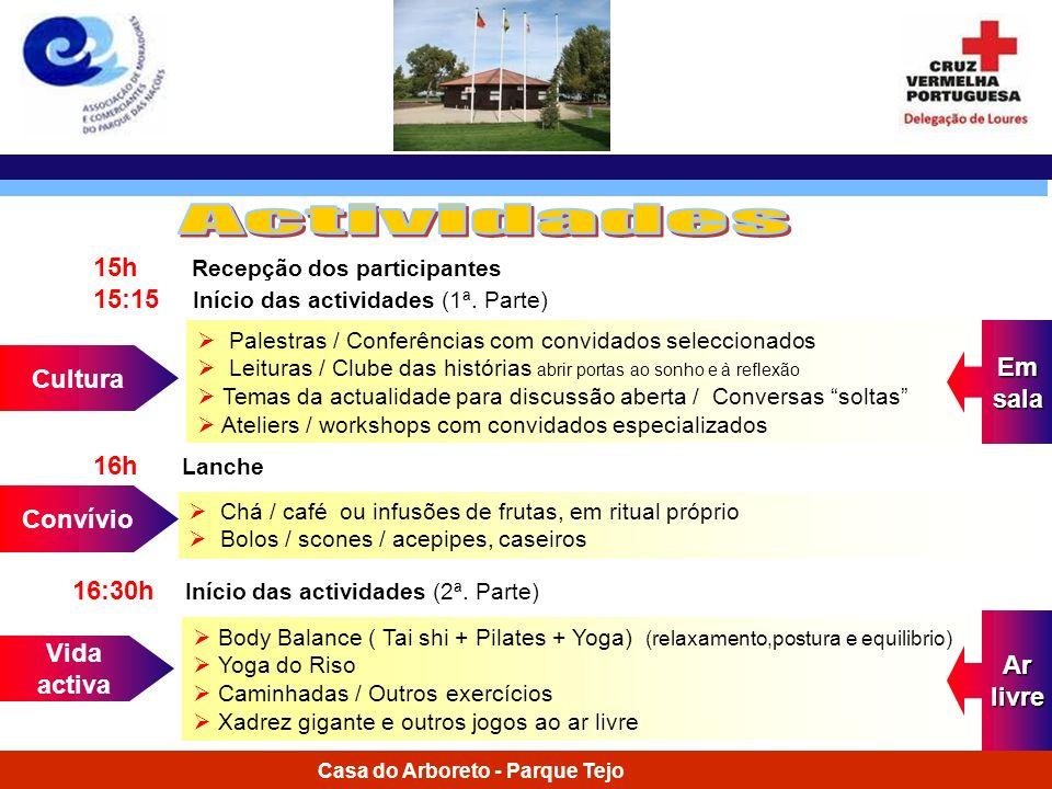 Casa do Arboreto - Parque Tejo 15h Recepção dos participantes 15:15 Início das actividades (1ª. Parte) Cultura Palestras / Conferências com convidados