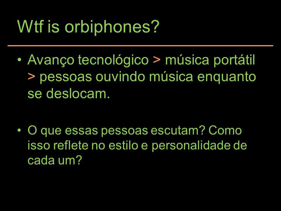 Wtf is orbiphones? Avanço tecnológico > música portátil > pessoas ouvindo música enquanto se deslocam. O que essas pessoas escutam? Como isso reflete
