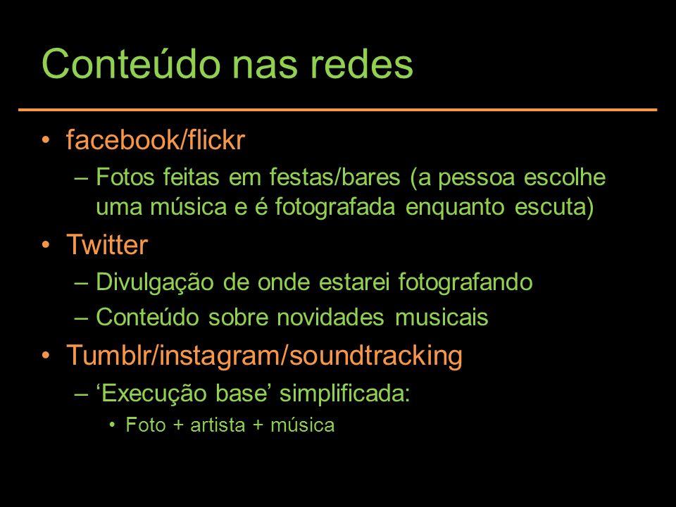 Conteúdo nas redes facebook/flickr –Fotos feitas em festas/bares (a pessoa escolhe uma música e é fotografada enquanto escuta) Twitter –Divulgação de