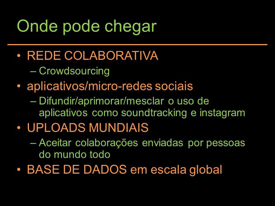Onde pode chegar REDE COLABORATIVA –Crowdsourcing aplicativos/micro-redes sociais –Difundir/aprimorar/mesclar o uso de aplicativos como soundtracking