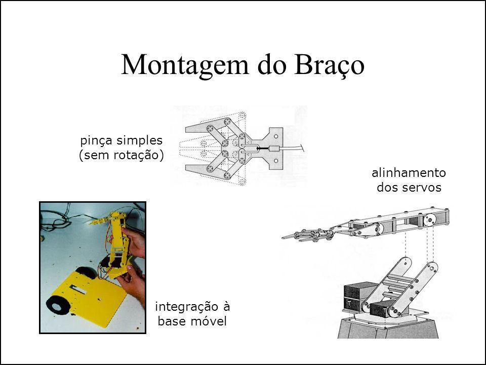 Montagem do Braço pinça simples (sem rotação) alinhamento dos servos integração à base móvel