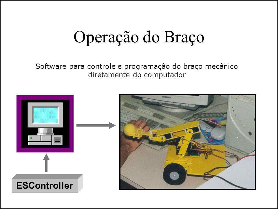 Operação do Braço ESController Software para controle e programação do braço mecânico diretamente do computador