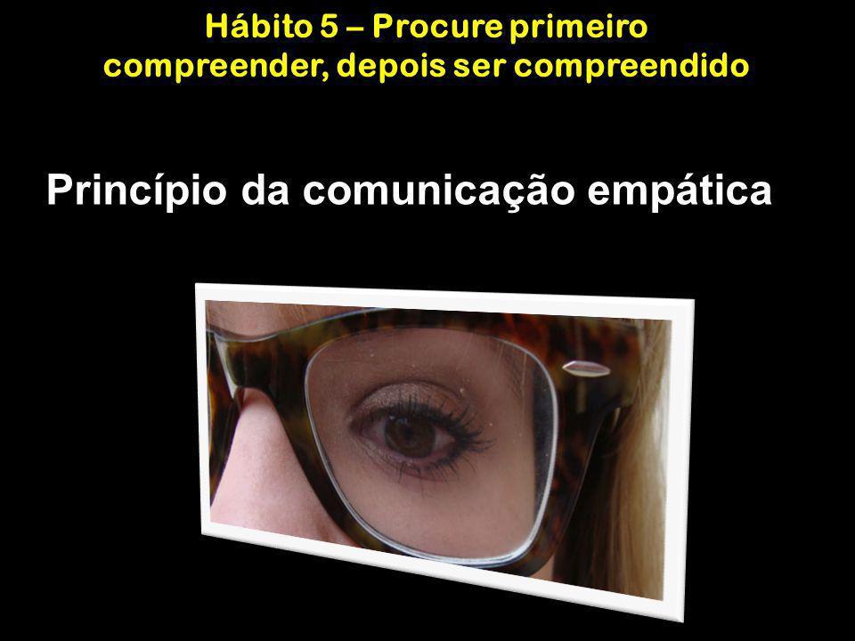 Princípio da comunicação empática Hábito 5 – Procure primeiro compreender, depois ser compreendido