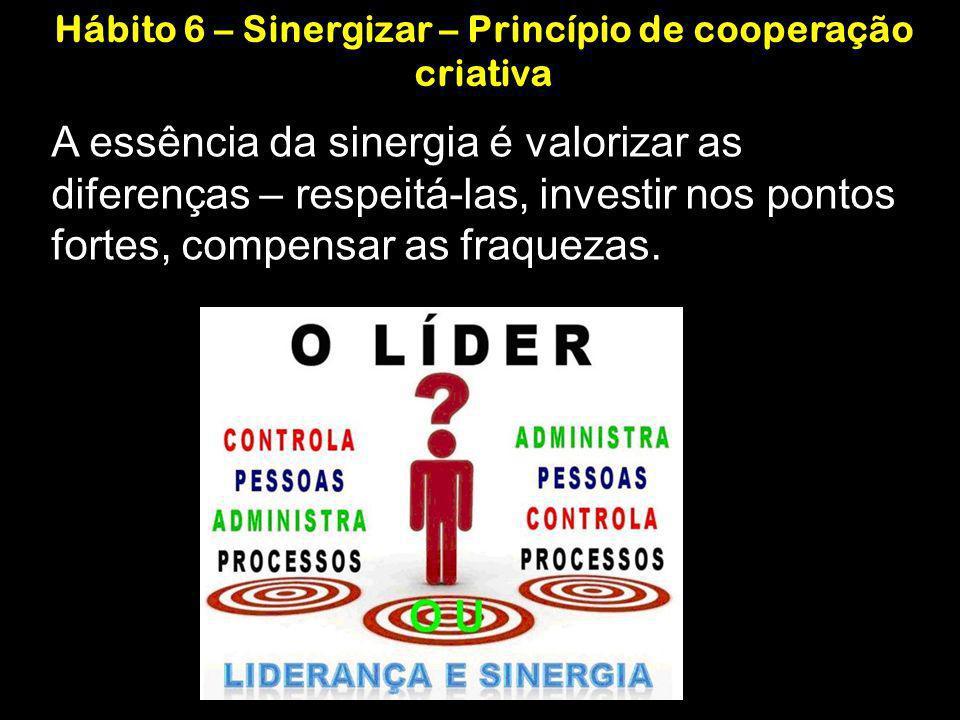 A essência da sinergia é valorizar as diferenças – respeitá-las, investir nos pontos fortes, compensar as fraquezas. Hábito 6 – Sinergizar – Princípio